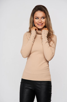 Cream women`s blouse cotton from striped fabric with crystal embellished details