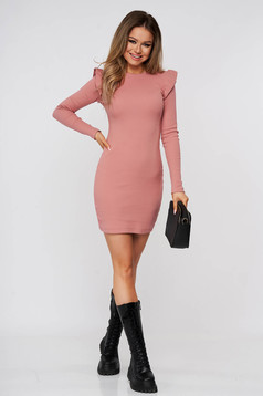 Lightpink dress short cut daily pencil cotton from striped fabric with ruffle details