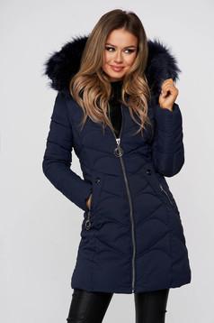 Darkblue jacket midi from slicker with faux fur lining detachable hood