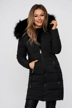 Black jacket midi from slicker detachable hood with faux fur lining