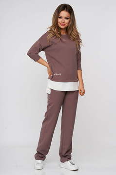 Cappuccino StarShinerS lady set of embossed material with easy cut voile details with embroidery details