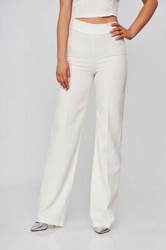 Pantaloni StarShinerS ivoire eleganti lungi evazati din stofa din material elastic