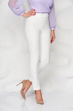 Pantaloni StarShinerS ivoire office conici din material usor elastic cu talie inalta