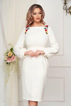 Occasional midi dress StarShinerS ivory pencil cloth thin fabric