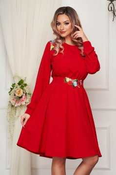 Occasional red short cut dress StarShinerS cloche with elastic waist thin fabric