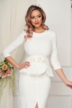 StarShinerS white women`s blouse occasional tented cloth from elastic fabric