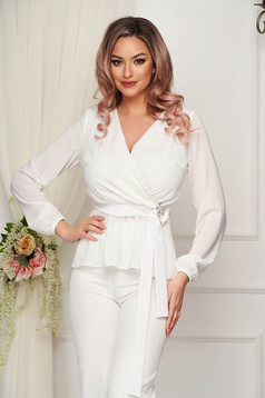 StarShinerS white women`s blouse occasional from veil fabric accessorized with breastpin with elastic waist