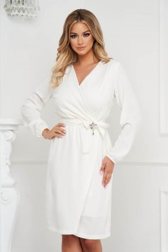 StarShinerS white dress occasional wrap around fluid material straight