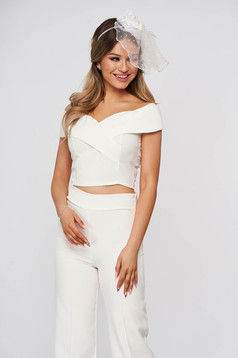 Short cut top shirt StarShinerS white occasional cloth from elastic fabric naked shoulders