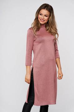 Bluza dama StarShinerS roz prafuit casual lunga din material elastic cu un croi mulat