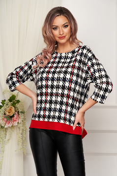 StarShinerS red women`s blouse of embossed material slightly elastic fabric short cut office