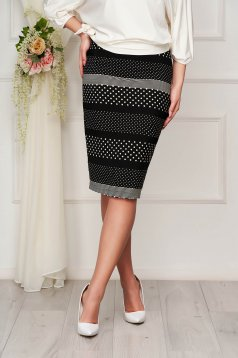 StarShinerS elegant pencil skirt from elastic fabric midi dots print