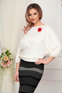 Bluza dama StarShinerS ivoire eleganta din material elastic cu croi larg