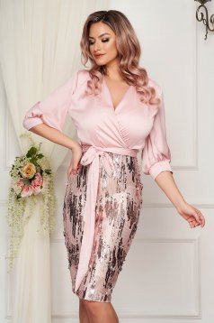 Pencil StarShinerS pink thin fabric midi dress with sequin embellished details