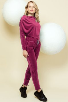 Casual pink sport 2 pieces with trousers velvet one shoulder