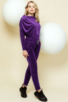 Casual purple sport 2 pieces with trousers velvet one shoulder