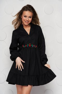Black dress loose fit with ruffle details poplin, thin cotton