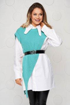 Camasa dama SunShine turcoaz cu croi larg suprapunere de material cu accesoriu tip curea