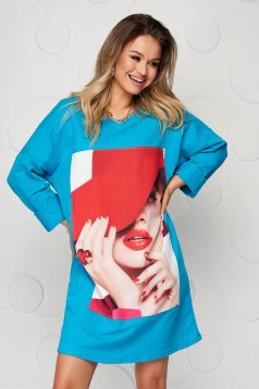 Rochie SunShine albastra scurta din bumbac cu croi larg si print
