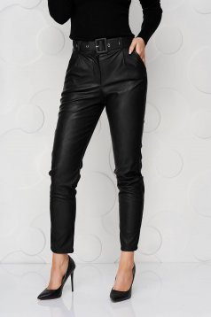 Black trousers from ecological leather conical accessorized with belt