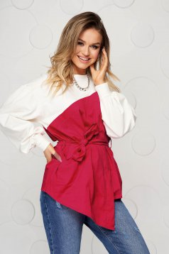Cotton loose fit accessorized with tied waistband red women`s blouse