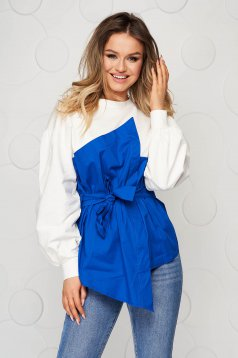 Cotton loose fit accessorized with tied waistband blue women`s blouse