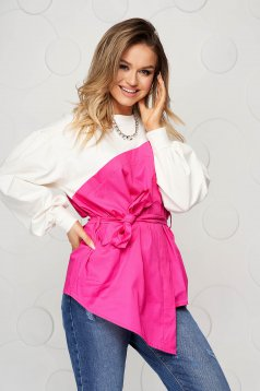 Cotton loose fit accessorized with tied waistband pink women`s blouse