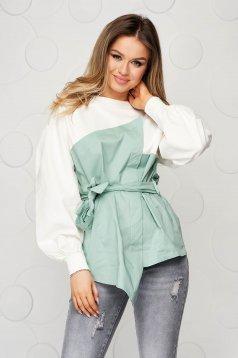 Bluza dama SunShine verde-deschis din bumbac cu croi larg accesorizata cu cordon