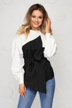 Cotton loose fit accessorized with tied waistband black women`s blouse