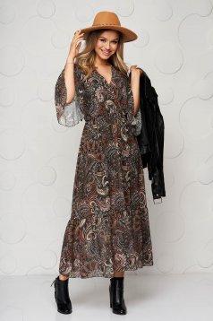 Rochie cu imprimeu floral midi casual clos cu elastic in talie cu volanase