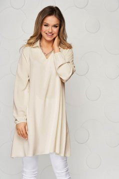 Cream women`s blouse loose fit transparent chiffon fabric long sleeve