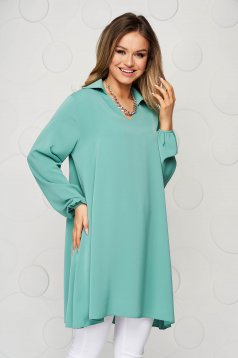 Green women`s blouse loose fit transparent chiffon fabric long sleeve