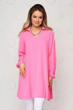 Pink women`s blouse loose fit transparent chiffon fabric long sleeve