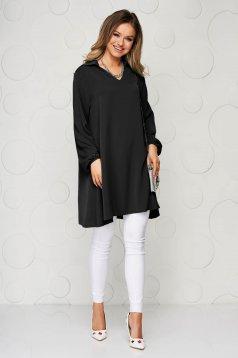 Bluza dama SunShine neagra cu croi larg din material vaporos si transparent cu maneca lunga
