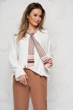 Women`s blouse white office loose fit folded up