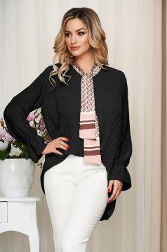 Bluza dama SunShine neagra office cu croi larg plisata cu guler tip esarfa