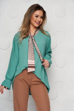 Women`s blouse green office loose fit folded up