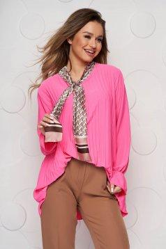 Bluza dama SunShine roz office cu croi larg plisata cu guler tip esarfa