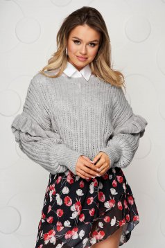 Knitted grey sweater transparent fabric with ruffle details loose fit