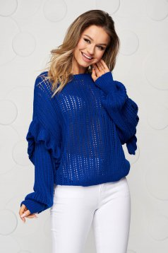 Knitted blue sweater transparent fabric with ruffle details loose fit