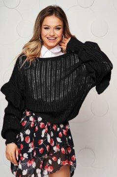 Pulover SunShine negru tricotat transparent cu croi larg si volanase la maneci