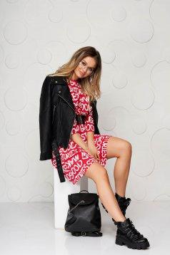 Rochie SunShine rosie casual din bumbac cu croi larg si curea elastica