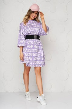Purple dress cotton casual loose fit elastic belt