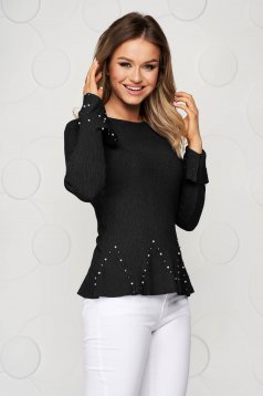 Black women`s blouse from elastic and fine fabric with bell sleeve with small beads embellished details