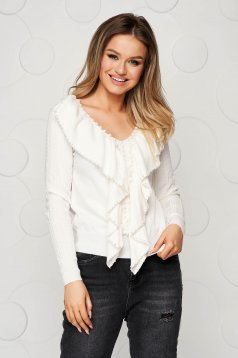 White women`s blouse knitted from striped fabric with small beads embellished details