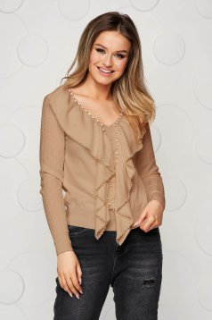 Cream women`s blouse knitted from striped fabric with small beads embellished details