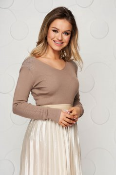 Cappuccino women`s blouse knitted from elastic and fine fabric from striped fabric with padded shoulders