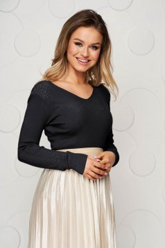 Bluza dama SunShine neagra din tricot reiat elastic si fin cu aplicatii cu pietre strass si umerii buretati