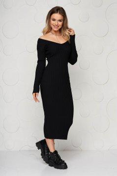 Rochie neagra casual tip creion din tricot reiat elastic si fin cu decolteu adanc