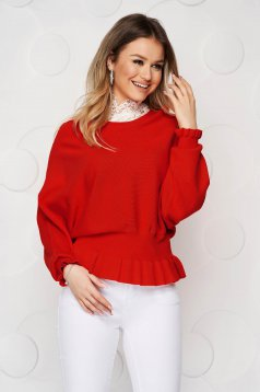 Red women`s blouse casual knitted from elastic and fine fabric from striped fabric with ruffle details